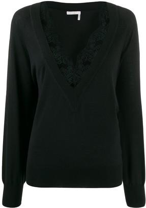 Chloé lace-trimmed jumper