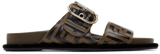 Fendi Brown and Black Forever Sandals