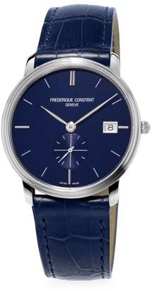 Frederique Constant Slimline Quartz Stainless Steel & Leather Strap Watch