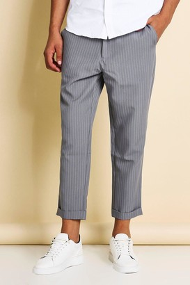 boohoo Mens Grey Pinstripe Cropped Tailored Trousers, Grey