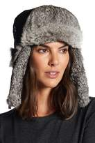 Surell Genuine Rabbit Fur Trim Quilted Trooper Hat