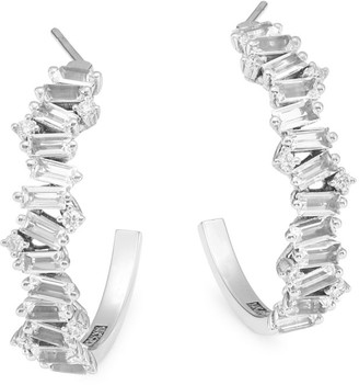 Suzanne Kalan Fireworks 14K White Gold, White Topaz & Diamond Half Hoop Earrings