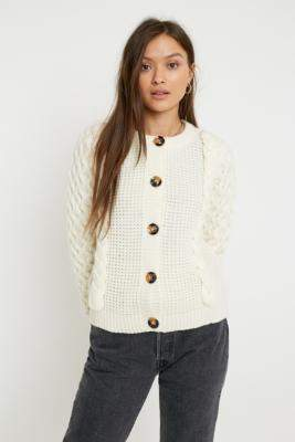 Gestuz Cable Knit Cardigan - white XS at Urban Outfitters