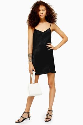 Topshop Womens Petite Black Jacquard Mini Slip Dress - Black