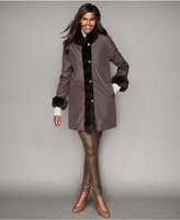 The Fur Vault Rabbit-Fur-Trim Reversible Coat