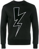Neil Barrett lightning bolt applique sweatshirt - men - Cotton/Polyurethane/Viscose - M