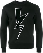 Neil Barrett lightning bolt applique sweatshirt