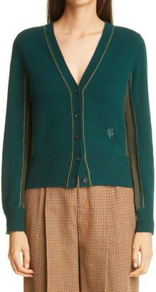 Chloé Silk Panel Cashmere Cardigan