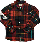 "Scotch Shrunk Shrunk""-Taped Plaid Cotton Flannel Shirt-RED, GREEN, NO COLOR"