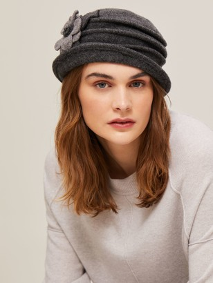 John Lewis & Partners Wool Pleat Flower Detail Cloche Hat