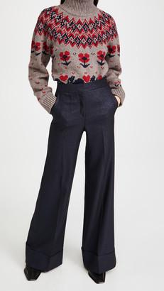 Victoria Victoria Beckham Wide Leg Metallic Tailoring Trousers