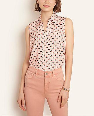 Ann Taylor Petite Floral Sleeveless Essential Shirt