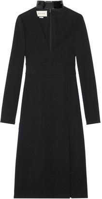 Gucci detachable-collar deep-V dress