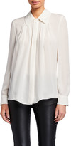 Emporio Armani Button-Down Silk Blouse w/ Pleated Front