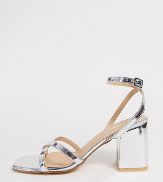 Glamorous Wide Fit block heeled sandal in silver metallic