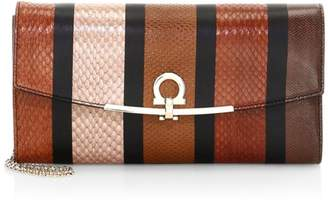 Salvatore Ferragamo Gancini Patchwork Snakeskin & Leather Wallet-On-Chain