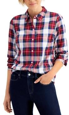 Charter Club Petite Cotton Plaid Shirt, Created for Macy's