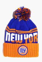 Boohoo NY Badge Bobble Hat