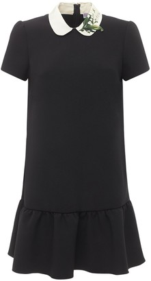RED Valentino Pleated Double Stretch Crepe Mini Dress