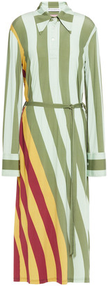 J.W.Anderson Striped Stretch-jersey Midi Shirt Dress