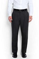Lands' End Men's Tailored Fit Pleat Wool Year'rounder Dress Trousers-Steeple Gray