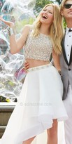 Terani Couture Two Piece Rhinestone Cluster Embellished Tiered Prom Dress