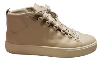 Balenciaga Beige Leather Trainers