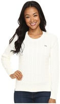 Lacoste Long Sleeve Cotton Cable Knit Crew Neck Sweater