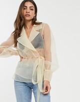 Asos Design DESIGN organza wrap top with collar detail