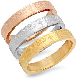 Hmy Jewelry HMY Jewelry Women's Rings Multi - Tri-Tone 'Our Father Lord's Prayer' Ring Set