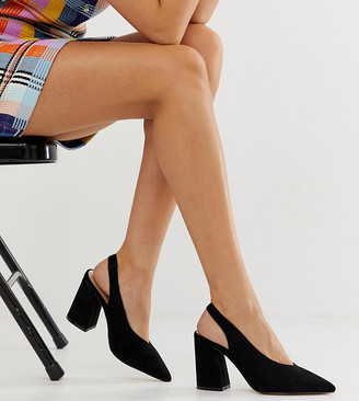 Miss Selfridge sling back heeled shoes in black