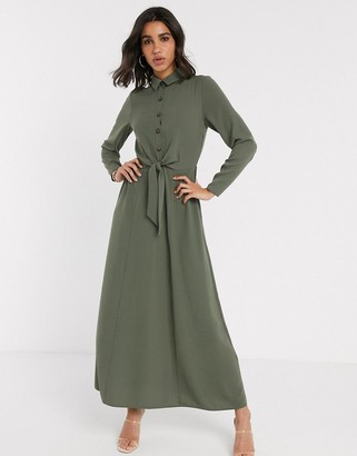 ASOS DESIGN button through wrap maxi shirt dress in khaki