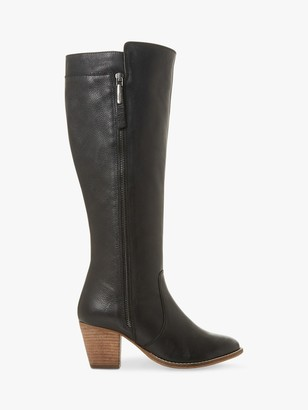 Dune Tiana Western Block Heel Knee High Leather Boots