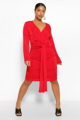 boohoo Plus Textured Slinky Plunge Drape Mini Dress