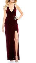 Teeze Me Deep V-Neck Velvet Long Dress