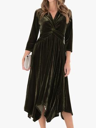 Jolie Moi Hanky Midi Velvet Dress, Khaki