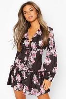 boohoo Petite Floral Corset Detail Frill Hem Dress