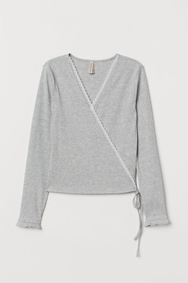 H&M Wrapover Top with Lace - Gray