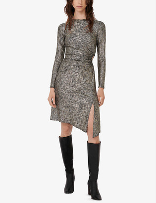 Maje Rilex metallic crepe mini dress