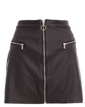 Dorothy Perkins Womens Quiz Black Faux Leather Zip Front Skirt, Black