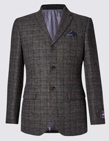 Marks And Spencer Buttonsafetm Regular Fit Large Check 2 Button Jacket