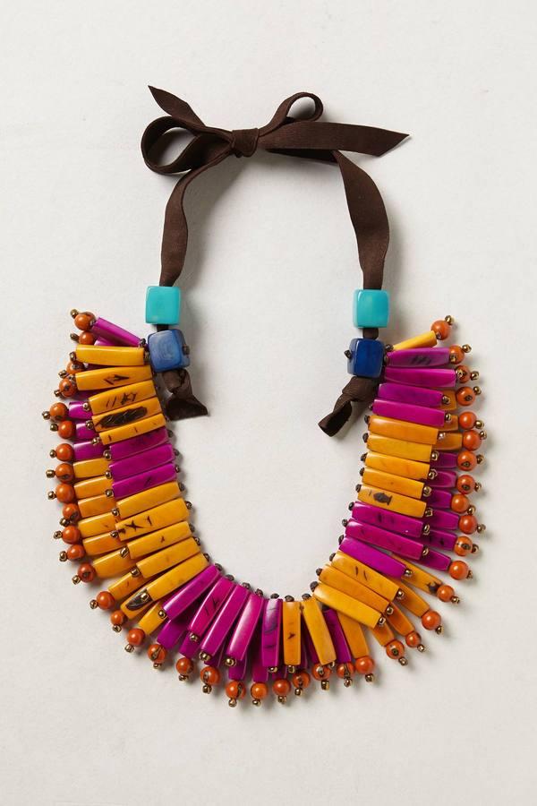 Anthropologie Tagua Fan Necklace