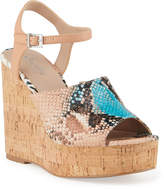 Charles by Charles David Dory Snake-Print Cork Wedge Espadrilles