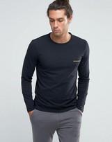 Emporio Armani Slim Fit Long Sleeve Top In Black