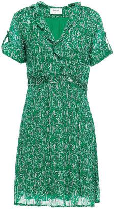 BA&SH Clem Ruffled Metallic Printed Georgette Mini Dress