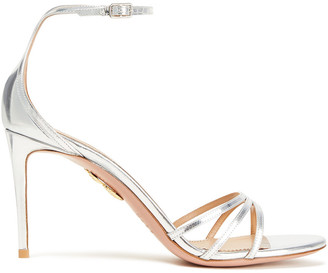 Aquazzura Very Purist 85 Metallic Leather Sandals