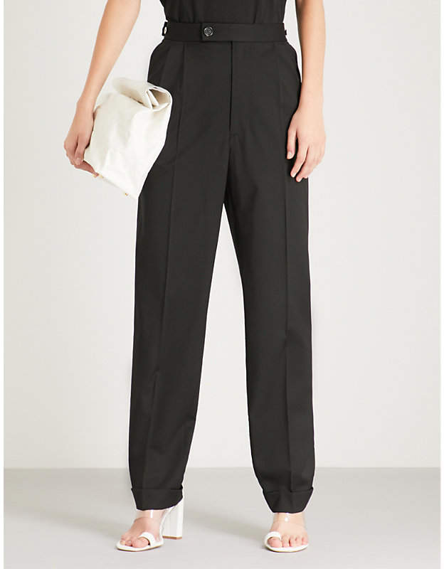 Helmut Lang Pleated tapered high-rise wool trousers