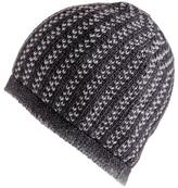 Black Charcoal and Light Grey Cashmere Beanie