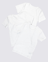 Marks and Spencer 3 Pack Pure Cotton Short Sleeve Vests (1-16 Years)