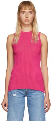 Ami Alexandre Mattiussi Pink Rib Knit Tank Top